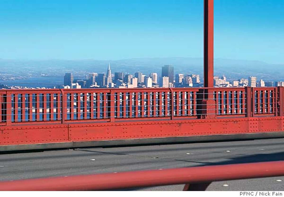 THIS IS THE BRIDGE AS IS WITHOUT BARRIER. In May of 2005, a team of UC Berkeley engineering students-Danielle Hutchins, Robert Simpson, Ryan Stauffer and Douglas Wahl released three preliminary designs for a suicide barrier on the Golden Gate Bridge. A digital version of these designs was electronically added to the Bridge by photo artist Nick Fain to produce this image. Photo Credit: Digital photo illustration by Nick Fain/PFNC