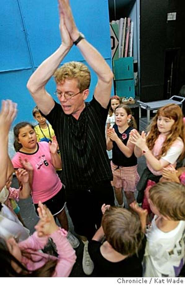 Barrett Lindsay-Steiner works on a dance number for his production Moo-Maid featuring his youngest troupe, Wahoo. Chronicle photo by Kat Wade