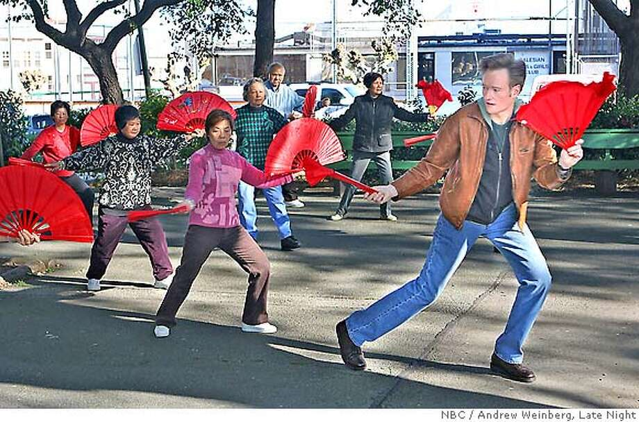 """Conan starts his tour of San Francisco with a visit to Washington Square  Park where he tries his hand at some tai chi. Photo credit: Andrew Weinberg/""""Late Night"""" Photo: Andrew Weinberg/""""Late Night"""""""