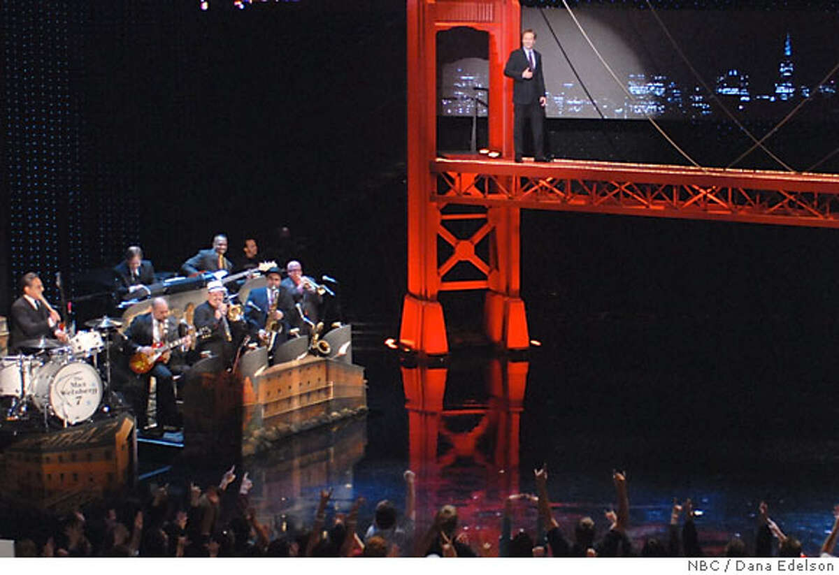 Conan O'Brien makes a grand entrance at the Orpheum Theatre San Francisco, crossing the Golden Gate Bridge on his set for the week-long stay in the Bay Area.photo credit: copyright 2007/Dana Edelson/NBC