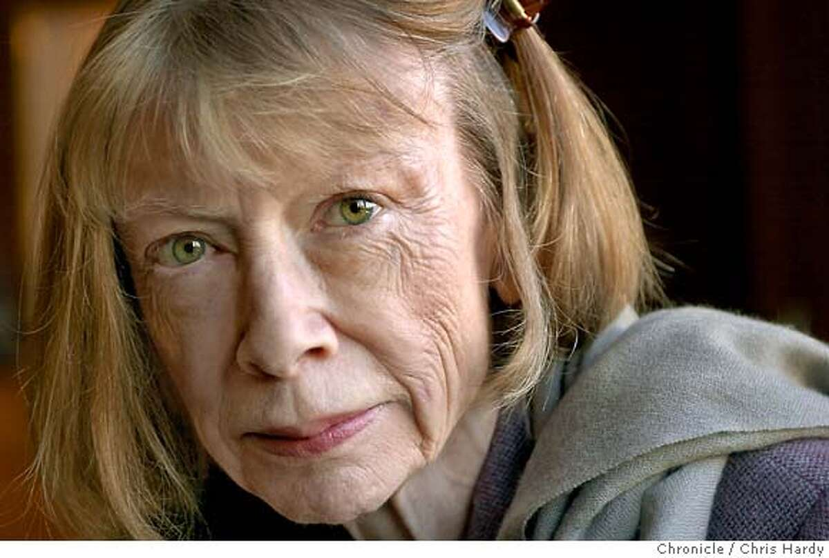 didion001_ch Portrait of author Joan Didion. Event on 10/20/03 in San Francisco. CHRIS HARDY / The Chronicle Literary icon Joan Didion, who grew up in the Sacramento area, still has a California drivers license (with her Manhattan address on it) -- but wont comment on whether shell ever move back. Literary icon Joan Didion, who grew up in the Sacramento area, still has a California drivers license (with her Manhattan address on it) -- but wont comment on whether shell ever move back. Literary icon Joan Didion, who grew up in the Sacramento area, still has a California drivers license (with her Manhattan address on it) -- but wont comment on whether shell ever move back. MANDATORY CREDIT FOR PHOTOG AND SF CHRONICLE/ -MAGS OUT