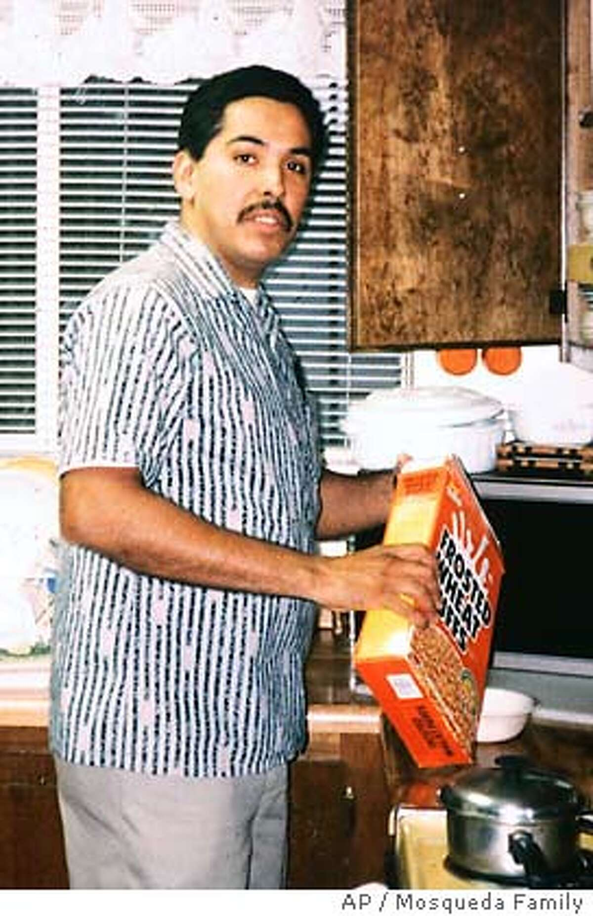 This 2001 photo provided by the family shows James Mosqueda, the driver of the gasoline truck that crashed, burned and caused the collapse of an Oakland Freeway Sunday, April 29, 2007. Mosqueda, 51, was driving southbound on the MacArthur Maze Sunday when the truck overturned, caught fire causing the steel supports to weaken and the freeway to collapse. Mosqueda was taken by taxi to a local hospital where he is being treated for second degree burns. (AP Photo/ Mosqueda Family) ** NO SALES **