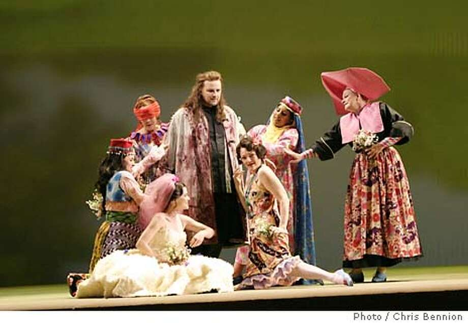 Christopher Ventris as Parsifal with the six Flower Maidens Catherine Cangiano, Linda Pavelka, Terri Richter, Wendy Hill, Priti Gandhi and Luretta Bybee in Seattle Opera's 2003 new production of Parsifal, which opens August 2. To accompany Josh Koshman's review. Parsifal will be the first opera performed in the new Marion Oliver McCaw Hall. (HANDOUT Photo / Chris Bennion) Photo: HANDOUT