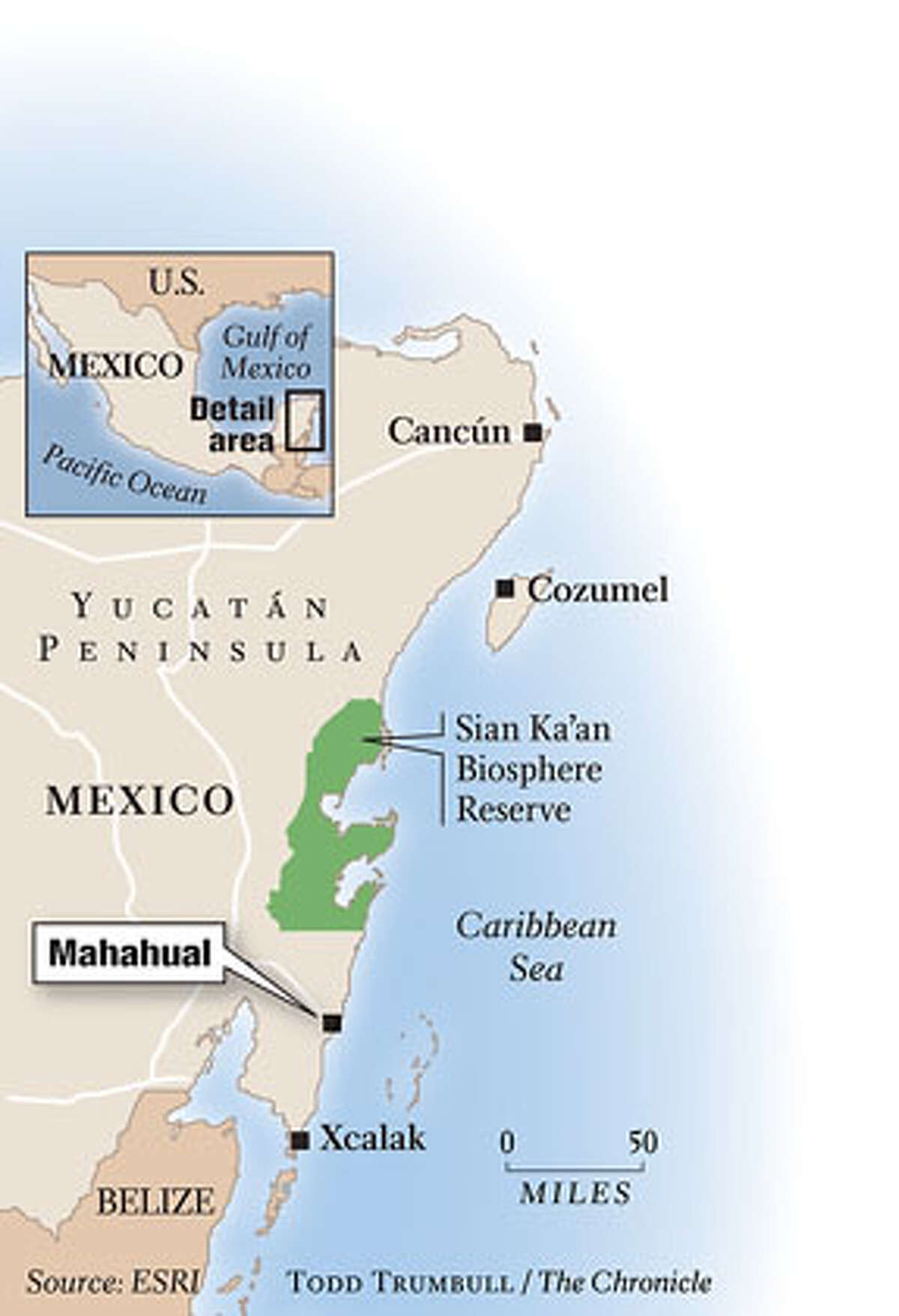 Yucatan Peninsula. Chronicle graphic by Todd Trumbull