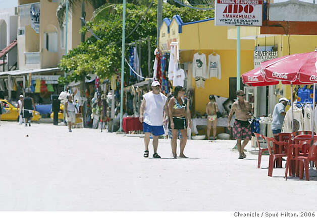 TRAVEL COSTA MAYA -- Downtown in the village of Mahahual, a tiny fishing village on the southern coast of the Yucatan that is getting busier with the throngs of passengers from the nearby cruise ship pier.  Spud Hilton / The Chronicle Photo: Spud Hilton