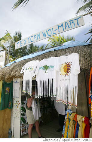 TRAVEL COSTA MAYA -- A store on the beach in the village of Mahahual, a tiny fishing village on the southern coast of the Yucatan that is getting busier with the throngs of passengers from the nearby cruise ship pier.  Spud Hilton / The Chronicle Photo: Spud Hilton