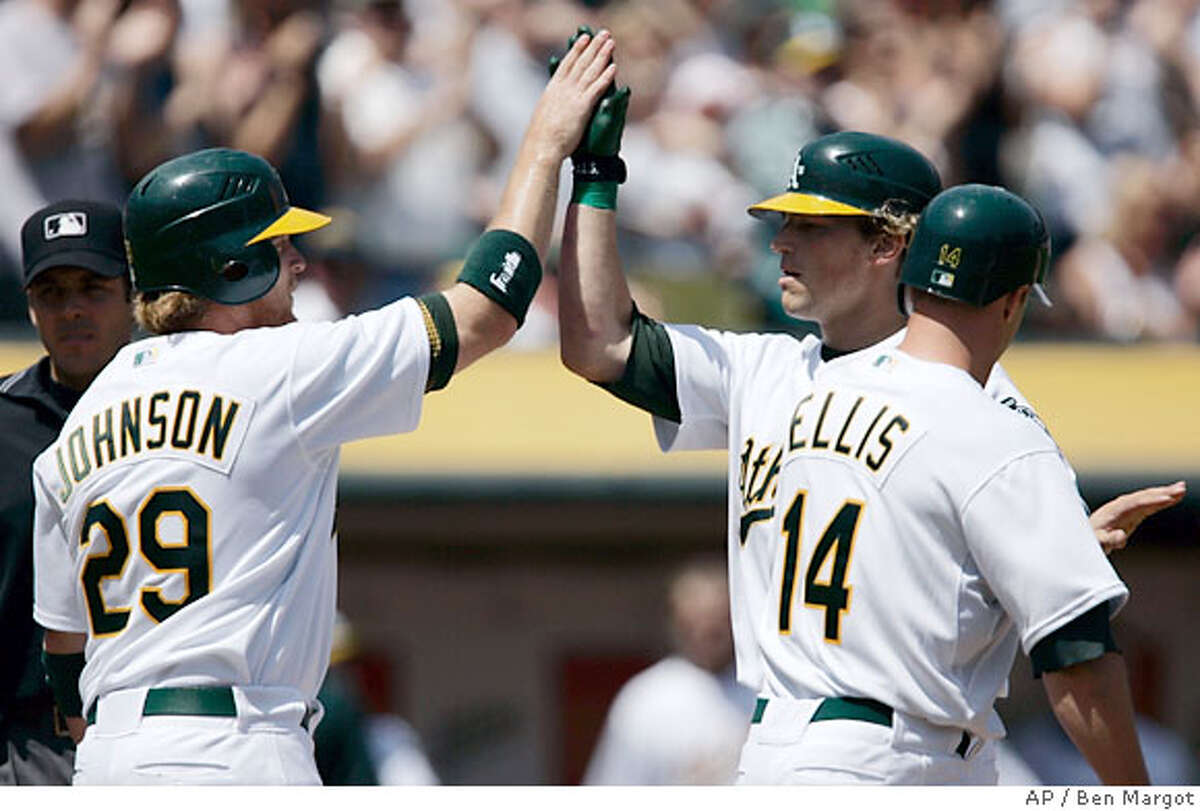 Oakland Athletics' Dan Johnson (29) and Mark Ellis (14) congratulate Travis Buck, right rear, after Buck hit a three-run home run off Tampa Bay Devil Rays' Casey Fossum in the first inning of a baseball game Saturday, April 28, 2007, in Oakland, Calif. (AP Photo/Ben Margot)