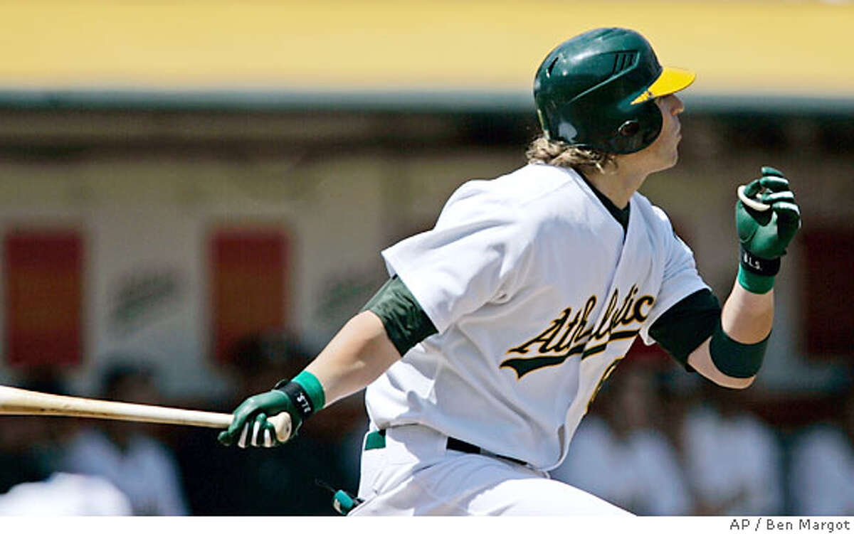 Oakland Athletics' Travis Buck watches his three-run home run off Tampa Bay Devil Rays' Casey Fossum in the first inning of a baseball game Saturday, April 28, 2007, in Oakland, Calif. (AP Photo/Ben Margot)