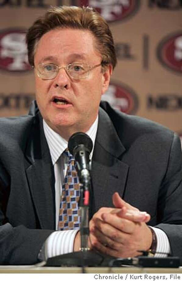 San Francisco 49ers owner John York announced that 49ers Head Coach Dennis Erickson and General Manager Terry Donahue will leave the organization today.  YORK_0069_kr.JPG 1/5/05 in Santa Clara,CA.  KURT ROGERS/THE CHRONICLE Ran on: 01-09-2005  Owner John York cleaned house this week, but many 49ers fans thought he should have gone, too. Ran on: 01-09-2005  Owner John York cleaned house this week, but many 49ers fans thought he should have gone, too. Ran on: 01-09-2005  Owner John York cleaned house this week, but many 49ers fans thought he should have gone, too. Ran on: 09-06-2005  John York (left) and Al Davis may have more in common than they'd like to admit. MANDATORY CREDIT FOR PHOTOG AND SF CHRONICLE/ -MAGS OUT Photo: KURT ROGERS