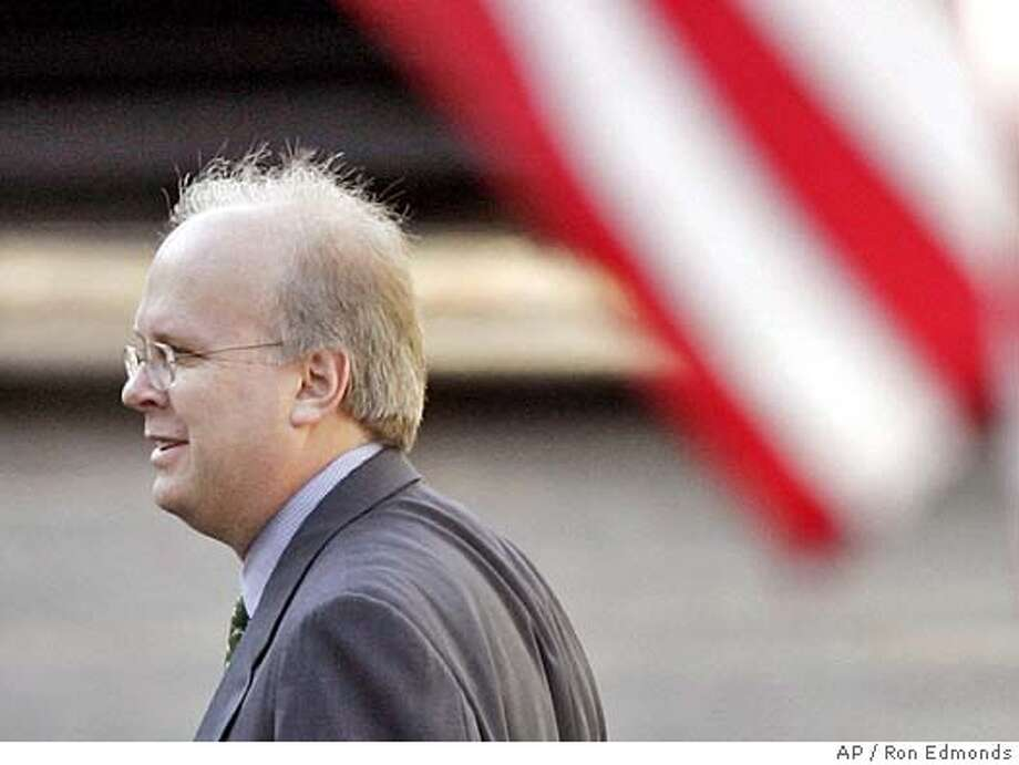 "Deputy chief of staff and presidential political adviser Karl Rove walks into the White House to attend meetings Wednesday, Oct. 26, 2005. Lawyers representing key White House officials expected Special Counsel Patrick Fitzgerald to decide as early as Wednesday whether to charge I. ""Scooter"" Libby, who is Vice President Dick Cheney's chief of staff and Rove in the leak of a CIA officer's identity. (AP Photo/Ron Edmonds) Ran on: 10-29-2005  Karl Rove, President Bush's top aide, is still one of the focuses of the probe into who leaked the name of a CIA agent. Photo: RON EDMONDS"