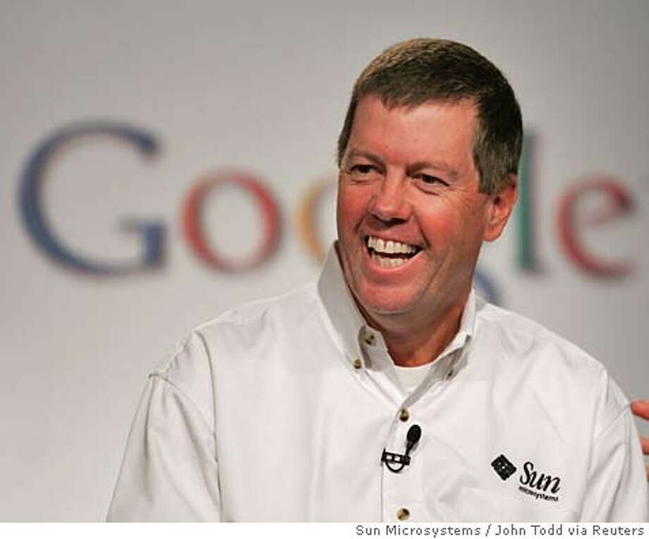 CEO of Sun Microsystems Scott McNealy smiles during a news conference to announce a multi-year strategic agreement with Google which promotes Java technology, Google toolbar, and OpenOffice.org, to end users, government and advertisers, in Mountain View, California October 4, 2005. NO ARCHIVES REUTERS/John Todd/Sun Microsystems/Handout Ran on: 10-05-2005  Sun CEO Scott McNealy declined to say whether the partners will go after Microsoft, saying, &quo;We're going after revenue growth and customers.&quo; Ran on: 10-05-2005  Sun CEO Scott McNealy declined to say whether the partners will go after Microsoft, saying, &quo;We're going after revenue growth and customers.&quo; Photo: HO