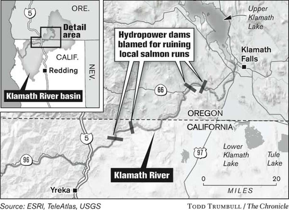 Hydropower dams blamed for ruining local salmon runs. Chronicle Graphic