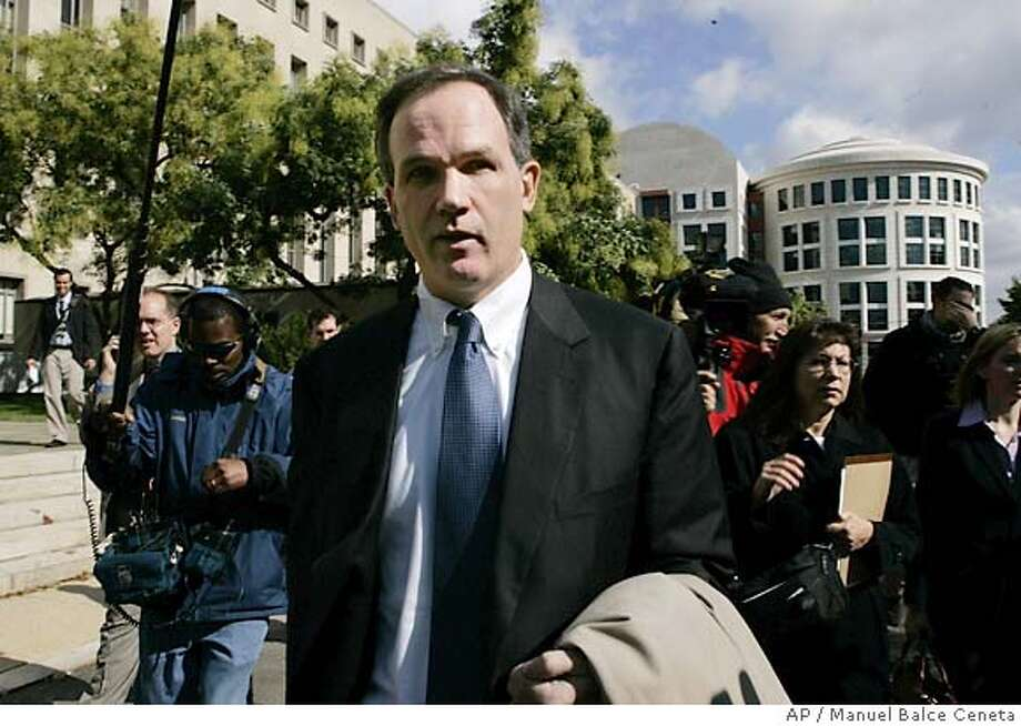 Special Counsel Patrick Fitzgerald, leaves the federal courthouse Wednesday, Oct. 26, 2005, in Washington. Fitzgerald met Wednesday with the grand jury investigating the leak of a CIA officer's identity, putting the finishing touches on a two-year criminal probe that has ensnared two senior White House aides. (AP Photo/Manuel Balce Ceneta) Photo: MANUEL BALCE CENETA