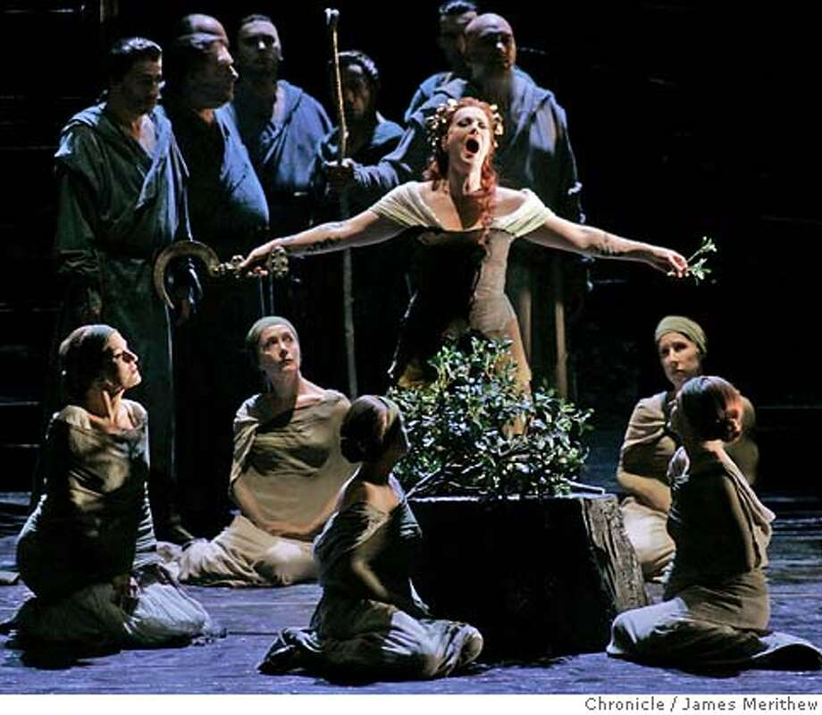 """Catherine Naglestad sings the lead role of Norma with The San Francisco Opera as they perform Bellini's opera """"Norma"""" during the final dress rehearsal at the War Memorial Opera House. by Jim Merithew/the chronicle Photo: Jim Merithew"""