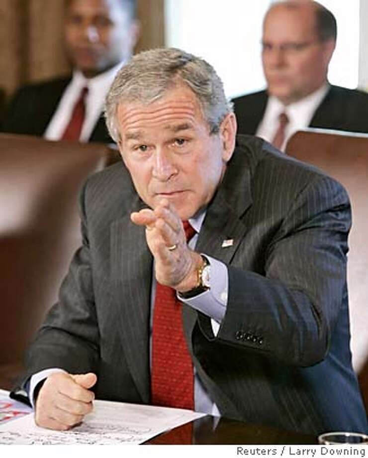 U.S. President George W. Bush holds a Cabinet Meeting in the Cabinet Room of the White House, October 24, 2005. REUTERS/Larry Downing 0 Photo: LARRY DOWNING
