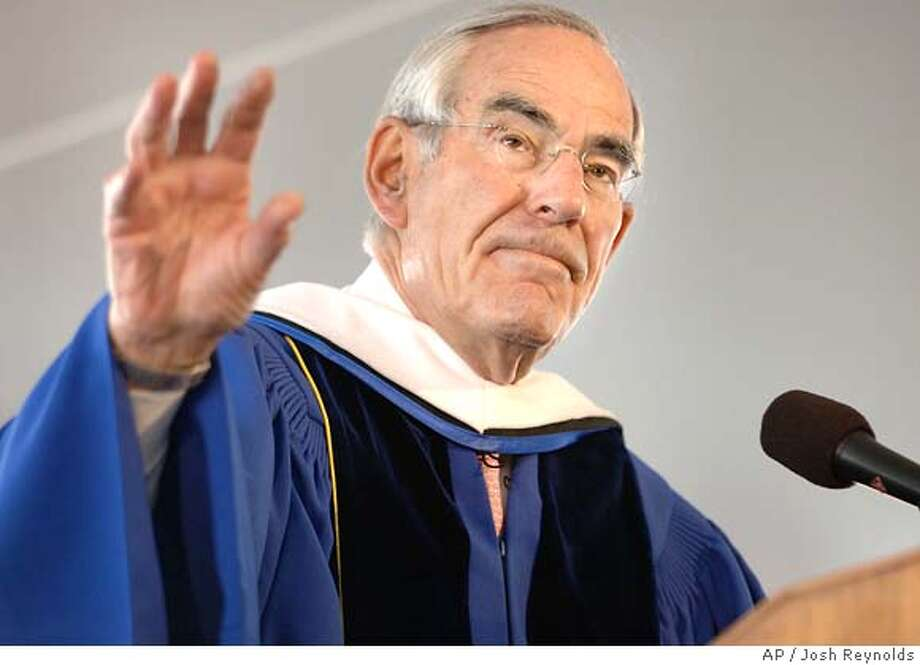 ** FILE ** Author David Halberstam delivers the commencement address during graduation ceremonies at Bentley College in Waltham, Mass., in this Saturday, May 20, 2006 file photo. The San Mateo County, Calif. coroner said Monday, April 23, 2007 that Halberstam was killed in a car crash. (AP Photo/Josh Reynolds) Photo: JOSH REYNOLDS