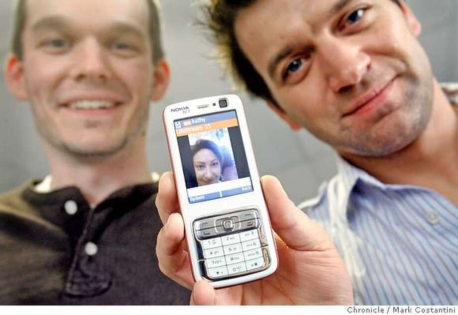 Daniel Graf (right) and Erik Abair (left), pictured here with their product on a cell phone screen, are the founders of San Francisco startup Kyte.tv. Their vision: Everyone will create their own Kyte channel on which they can broadcast video or photo slideshows. You can also do live streaming. The channel can run on your MySpace page, blog or anywhere you want. And you can launch the channel and add shows to it from your e-mail, laptop or mobile phone. The do-it-yourself technology is simple, a lot of dragging and dropping. PHOTO: Mark Costantini / The Chronicle  Daniel Graf (cq)  Erik Abair (cq) MANDATORY CREDIT FOR PHOTOGRAPHER AND SAN FRANCISCO CHRONICLE/NO SALES-MAGS OUT Photo: MARK COSTANTINI