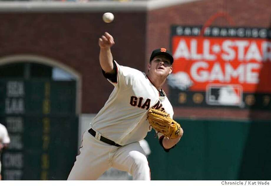 GIANTS_DB_0043_KW.JPG  The San Francisco Giant's Pitcher Matt Cain prepares to pitch to the final batter of the game during the ninth inning. Cain pitched a three-hitter for his third career complete game stiking out four and walking four when the San Francisco Giants beat the Arizona Diamondbacks 2 to 1at AT&T Park Sunday April 22, 2007.  Kat Wade/The Chronicle Mandatory Credit for San Francisco Chronicle and photographer, Kat Wade, No Sales Mags out Photo: Kat Wade