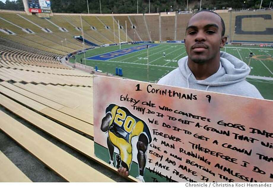 Feature photos of Daymeion Hughes, Cal defensive back. Not only is he a college football all-american, he's a good artist.(CHRSTINA KOCI HERNANDEZ/CHRONICLE)  Ran on: 12-24-2006  Time-obsessed NFL scouts think Daymeion Hughes may be about .001 too slow in the 40-yard dash. Hughes, however, may have a surprise in store for them.  Ran on: 12-24-2006  Time-obsessed NFL scouts think Daymeion Hughes may be about .001 too slow in the 40-yard dash. Hughes, however, may have a surprise in store for them.  Ran on: 12-24-2006  Time-obsessed NFL scouts think Daymeion Hughes may be about .001 too slow in the 40-yard dash. Hughes, however, may have a surprise in store for them.  Ran on: 12-24-2006  Daymeion Hughes, displaying a sample of his artwork, hopes to paint a better picture of his NFL potential and surprise the scouts who say he's too slow. CHRONICLE Photos by CHRISTINA KOCI HERNANDEZ Photo: CHRISTINA KOCI HERNANEZ/CHRONICL