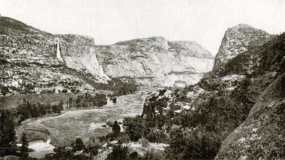 "Looking up Hetch Hetchy Valley from Surprise Point, Isaiah West Taber shot this photograph, which appeared in the Sierra Club Bulletin in January 1908. Photo from ""Dam!''"