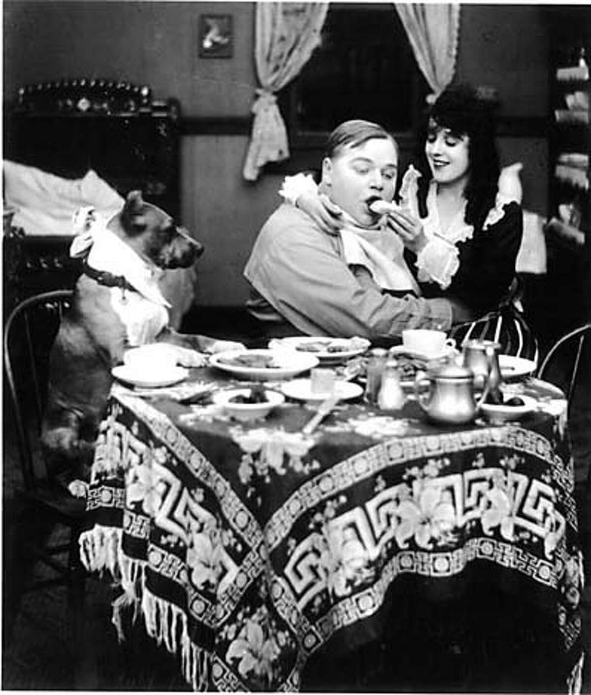 """Fatty Arbuckle and Mabel Normand in the 1916 comedy """"Fatty and Mabel Adrift"""""""