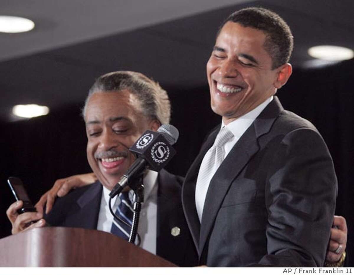 Democratic presidential hopeful Sen. Barack Obama, D-Ill., laughs with Rev. Al Sharpton during a speech to an audience at the 9th annual National Action Network convention Saturday, April 21, 2007 in New York. This election, the high-profile Sharpton, fresh from the fight over Don Imus' derogatory remarks, is attracting all the party's major candidates this week for his annual National Action Network convention. (AP Photo/Frank Franklin II)