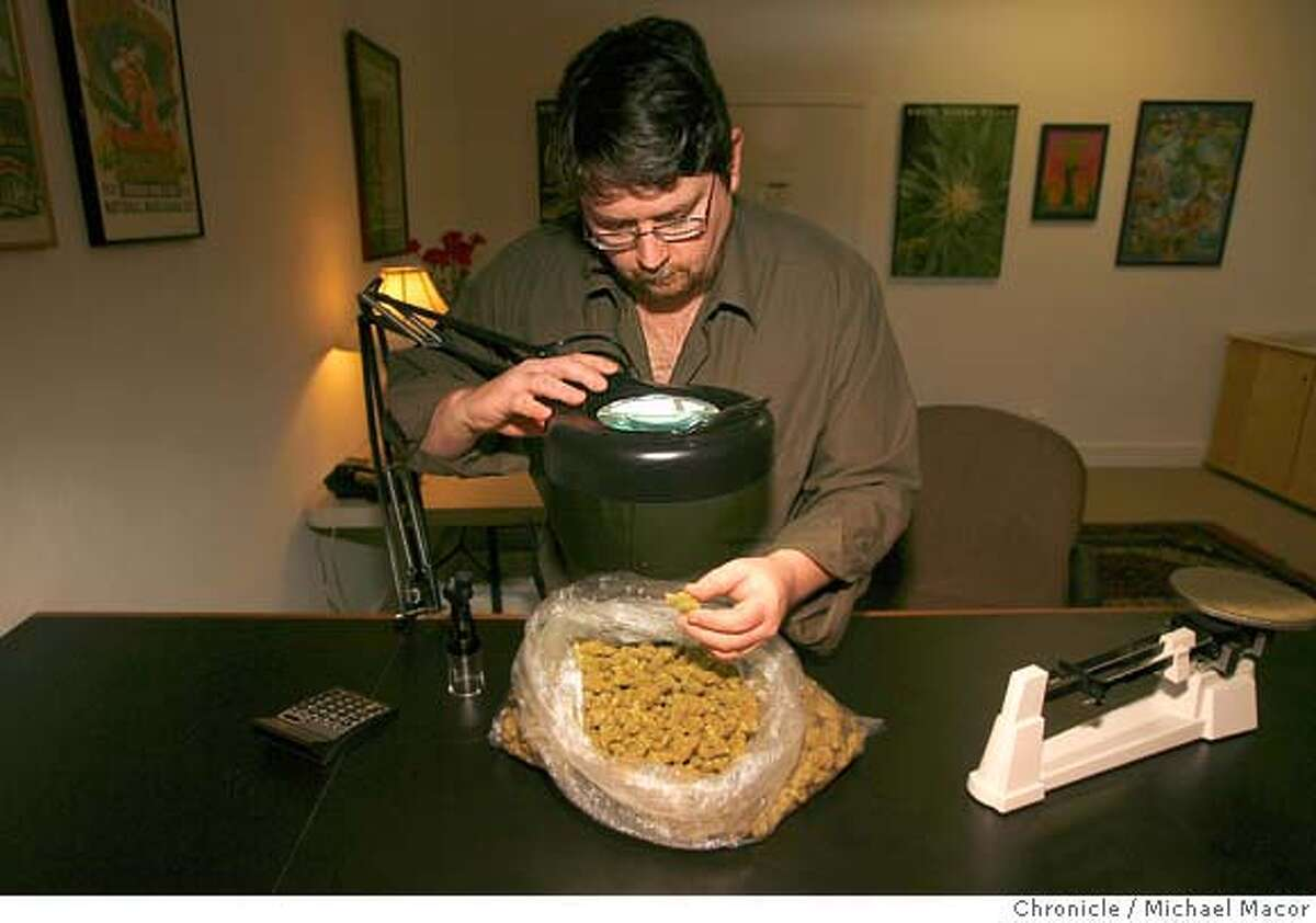 boutique_pot_133_mac.jpg Rick Pfromer is the purchaser at the Harborside Clinic. He carefully examines the product before making a decision on whether or not to buy a batch of marijuana. This product was declined. The boutiquing of pot. Northern California is the center of a new kind of weed connoisseurship, with growers and smokers likening it to wine snobbery. Harborside Health Clinic of Oakland serves patients with many varieties of marijuana. Photographed in, Oakland, Ca, on 2/15/07. Photo by: Michael Macor/ San Francisco Chronicle Ran on: 04-22-2007 Rick Pfrommer is the purchaser at Harborside Health Center. After examining this particular product, it was deemed unworthy.