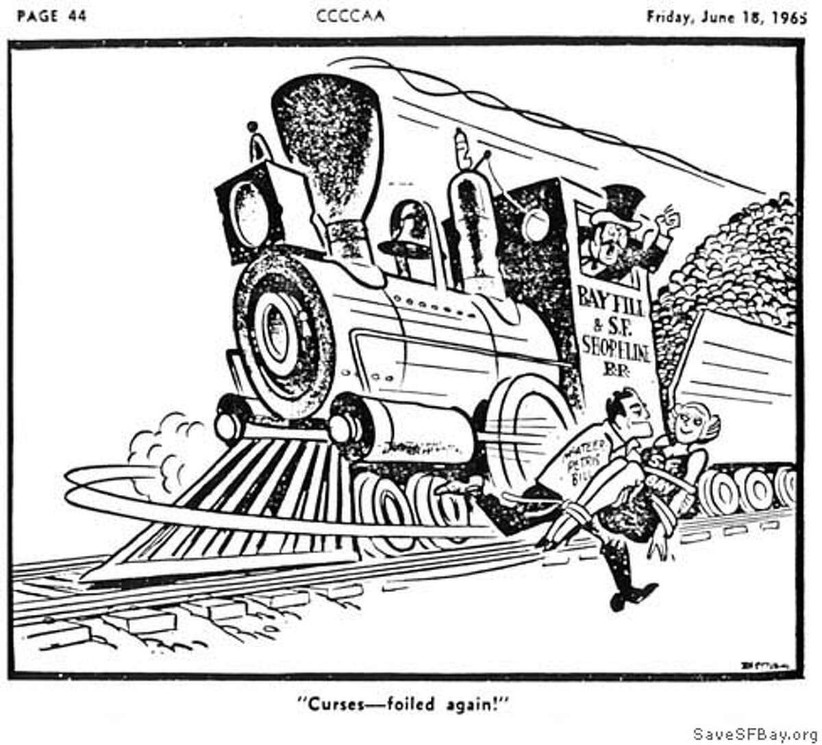 A Chronicle cartoon commented on the McAteer-Petris Act, which formed a study group that became the Bay Conservation and Development Commission. Image courtesy of SaveSFBay.org