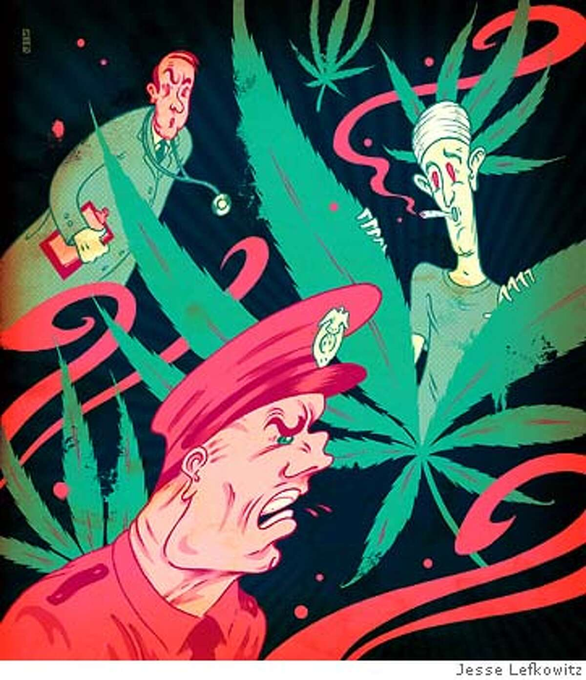 Illustrtion by Jesse Lefkowitz to accompany article by David Rubien about medical marijuana, pot clubs, etc., running in April 22, 2007, issue of Sunday magazine