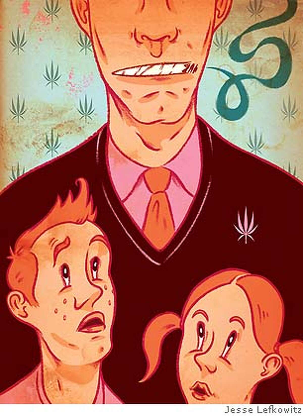 Illustration to run with Garofoli article in April 22, 2007, issue of Sunday magazine about parents who juggle their own drug use with raising children