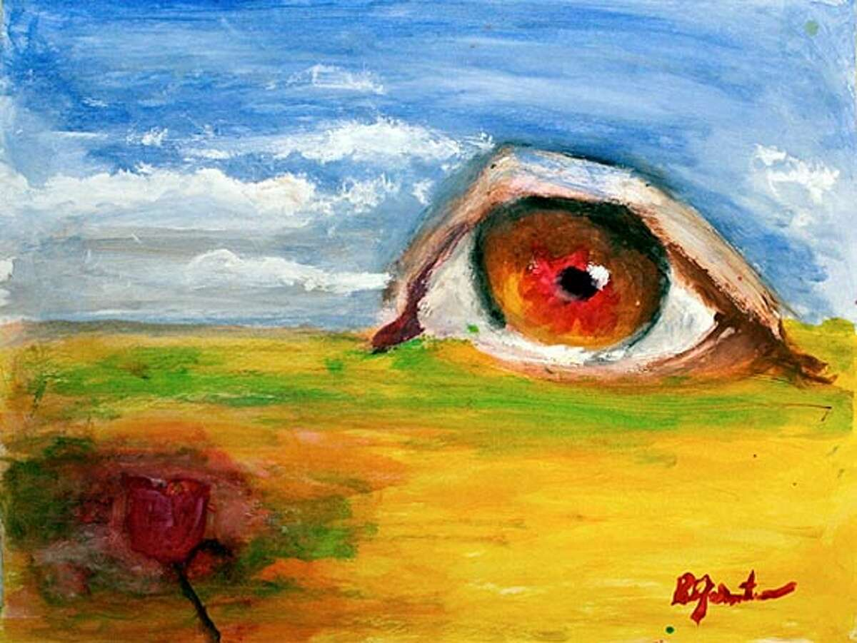 Richard Gelernter of Mill Valley painted a large eye as an image of pain.