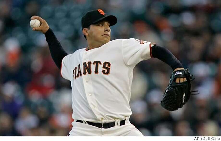 San Francisco Giants' Russ Ortiz pitches to the Arizona Diamondbacks in the first inning of a baseball game in San Francisco, Friday, April 20, 2007. (AP Photo/Jeff Chiu) Photo: Jeff Chiu