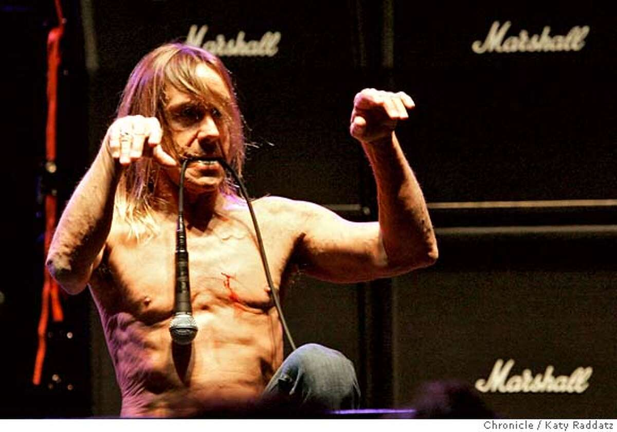 IGGY21_037_RAD.jpg SHOWN: Iggy Pop with his band, The Stooges, play a concert at the Warfield Theater in San Francisco. These pictures were made in San Francisco, CA. on Thursday, April 19, 2007. (Katy Raddatz/The Chronicle) **Iggy Pop Mandatory credit for the photographer and the San Francisco Chronicle. No sales; mags out.