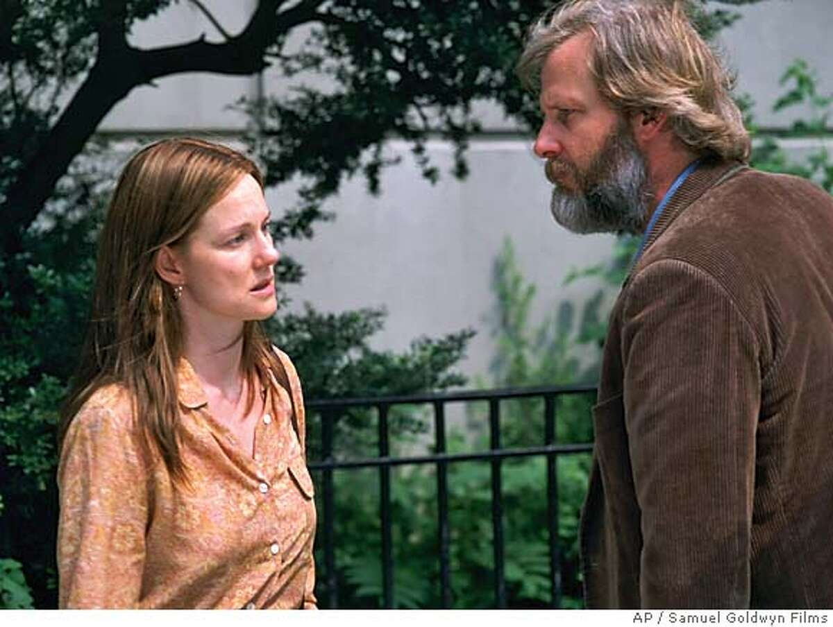 """In this photo provided by Samuel Goldwyn Films, Joan ( Laura Linney) and Bernard (Jeff Daniels) are a couple going through a divorce and painful truths about the marriage in """"The Squid and the Whale."""" (AP Photo/Samuel Goldwyn Films)"""