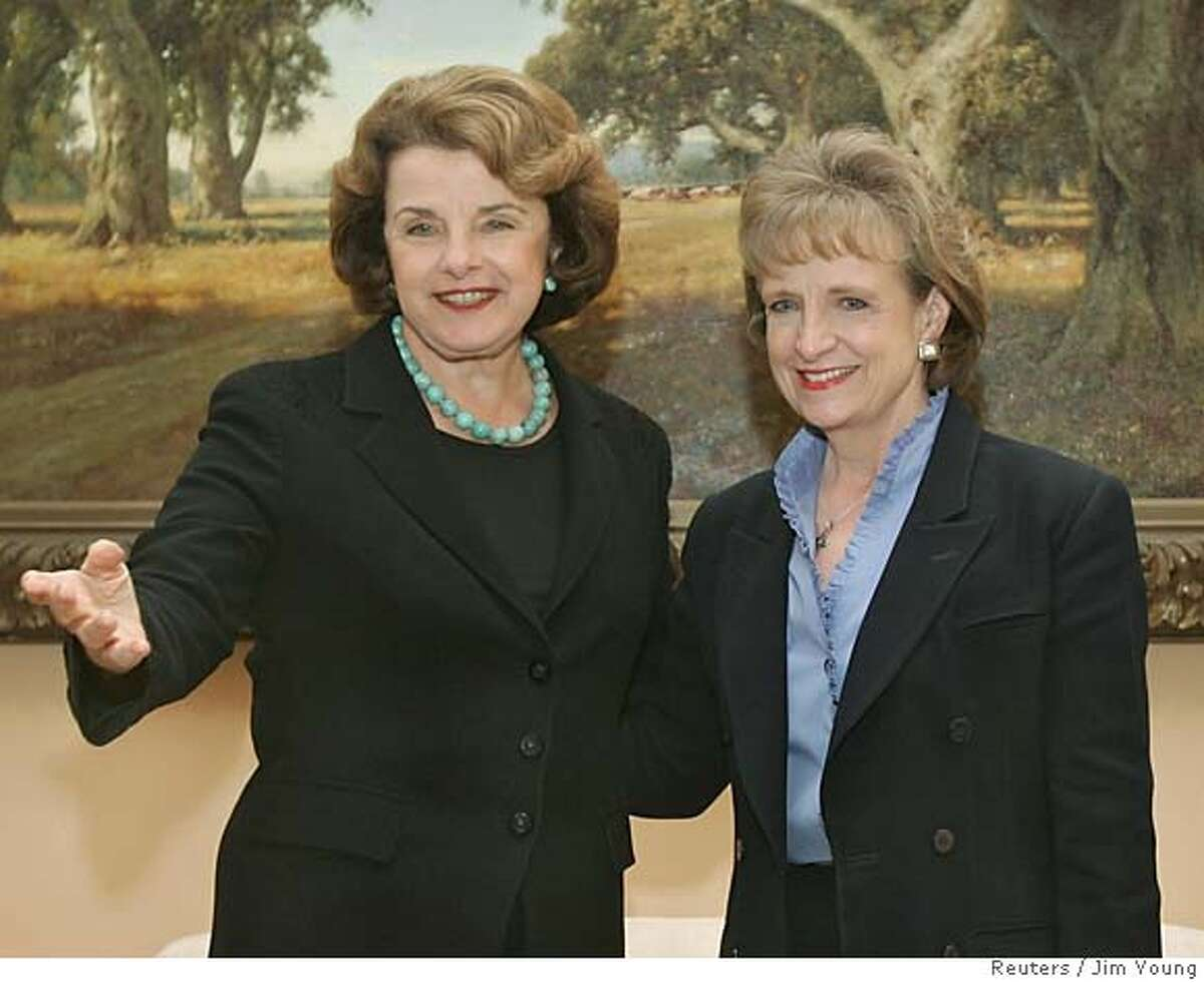 Supreme Court nominee Harriet Miers (R) meets with Senator Dianne Feinstein (D-CA) in Washington, DC, October 17, 2005. U.S. President George W. Bush continues to face criticism for the nomination of his long time friend Miers to fill a seat on the Court. REUTERS/Jim Young 0