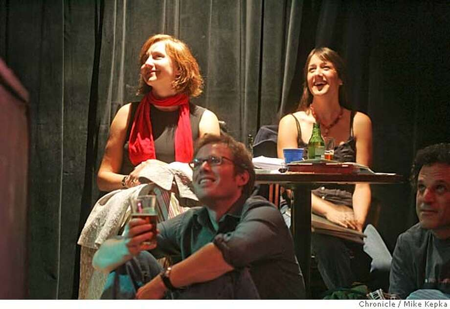 litcrawl17018_mk.JPG  Grotto writers Xandra Castleton, Maureen Kennedy and Eric Puchner listen to a reading by Josh McHugh.  12 Galaxies was one of the venues to host this years Litquake litcrawl.  date} Mike Kepka / The Chronicle MANDATORY CREDIT FOR PHOTOG AND SF CHRONICLE/ -MAGS OUT Photo: Mike Kepka