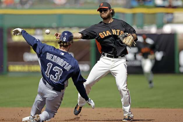 San Francisco Giants shortstop Brandon Crawford in action against the San Diego Padres during a spring training baseball game Sunday, March 18, 2012 in Scottsdale, Ariz. (AP Photo/Marcio Jose Sanchez) Photo: Marcio Jose Sanchez, Associated Press