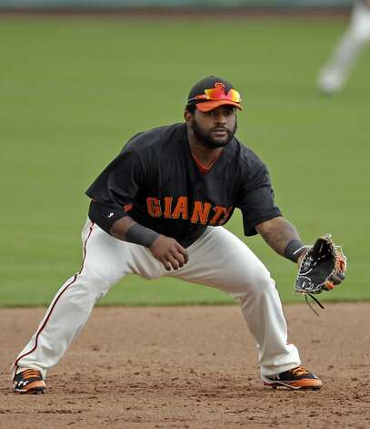 San Francisco Giants third baseman Pablo Sandoval in action against the San Diego Padres during a spring training baseball game Sunday, March 18, 2012 in Scottsdale, Ariz. (AP Photo/Marcio Jose Sanchez) Photo: Marcio Jose Sanchez, Associated Press