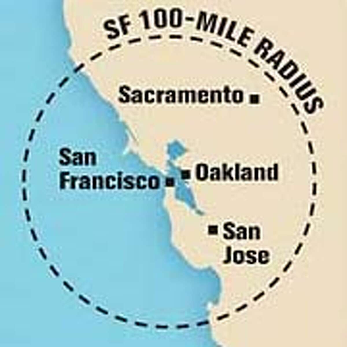 SF 100-Mile Radius. Chronicle Graphic