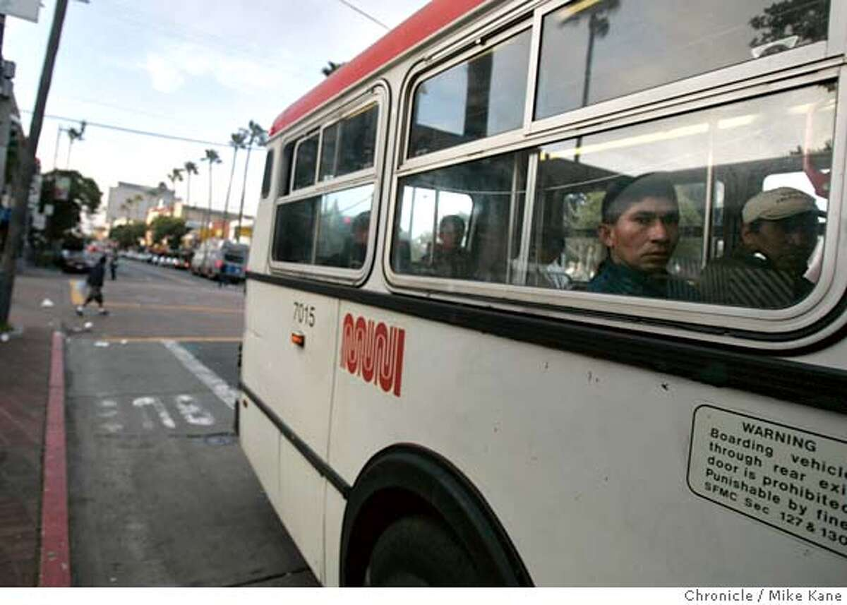 GREENTRAVELbus_143_MBK.JPG Commuters ride a MUNI bus through the Mission District in San Francisco, CA, on Thursday, April, 5, 2007. photo taken: 4/5/07 Mike Kane / The Chronicle ** MANDATORY CREDIT FOR PHOTOG AND SF CHRONICLE/NO SALES-MAGS OUT