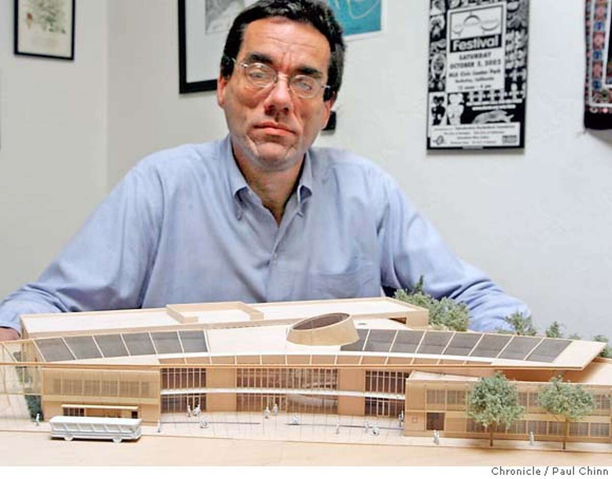 Dmitri Belser, president of the Ed Roberts Campus, displays a model by Leddy Maytum Stacy Architects of the planned campus in Berkeley, Calif. on Wednesday, March 21, 2007. The center for disability services plans to build the state-of-the-art facility at the Ashby BART station. PAUL CHINN/The Chronicle **Dmitri Belser, Leddy Maytum Stacy Architects (from project brochure) MANDATORY CREDIT FOR PHOTOGRAPHER AND S.F. CHRONICLE/NO SALES - MAGS OUT