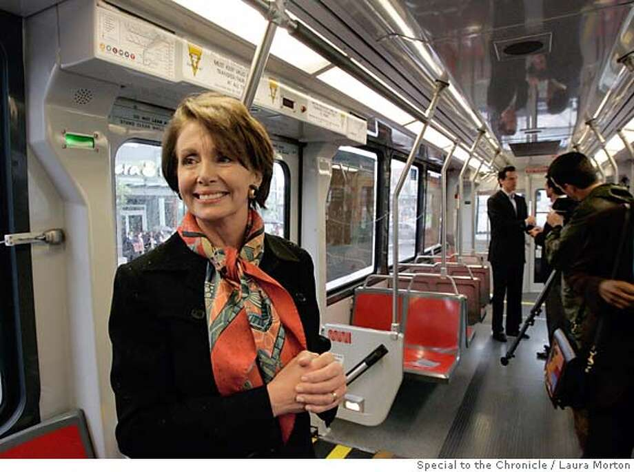TTHIRD15_00160_lkm.jpg U.S. Speaker of the House Nancy Pelosi took a commemorative ride on the T-Third light rail line with other local dignitaries including Mayor Gavin Newsom (background) after a ribbon cutting ceremony for the T-Third on Saturday morning. (Laura Morton/Special to the Chronicle) Photo: Laura Morton