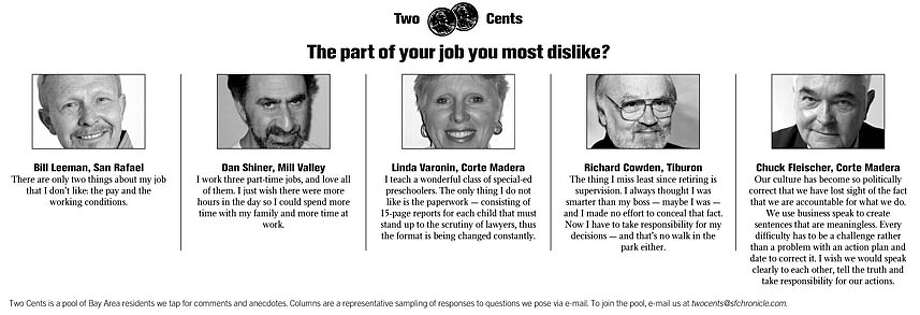 The part of your job you most dislike?