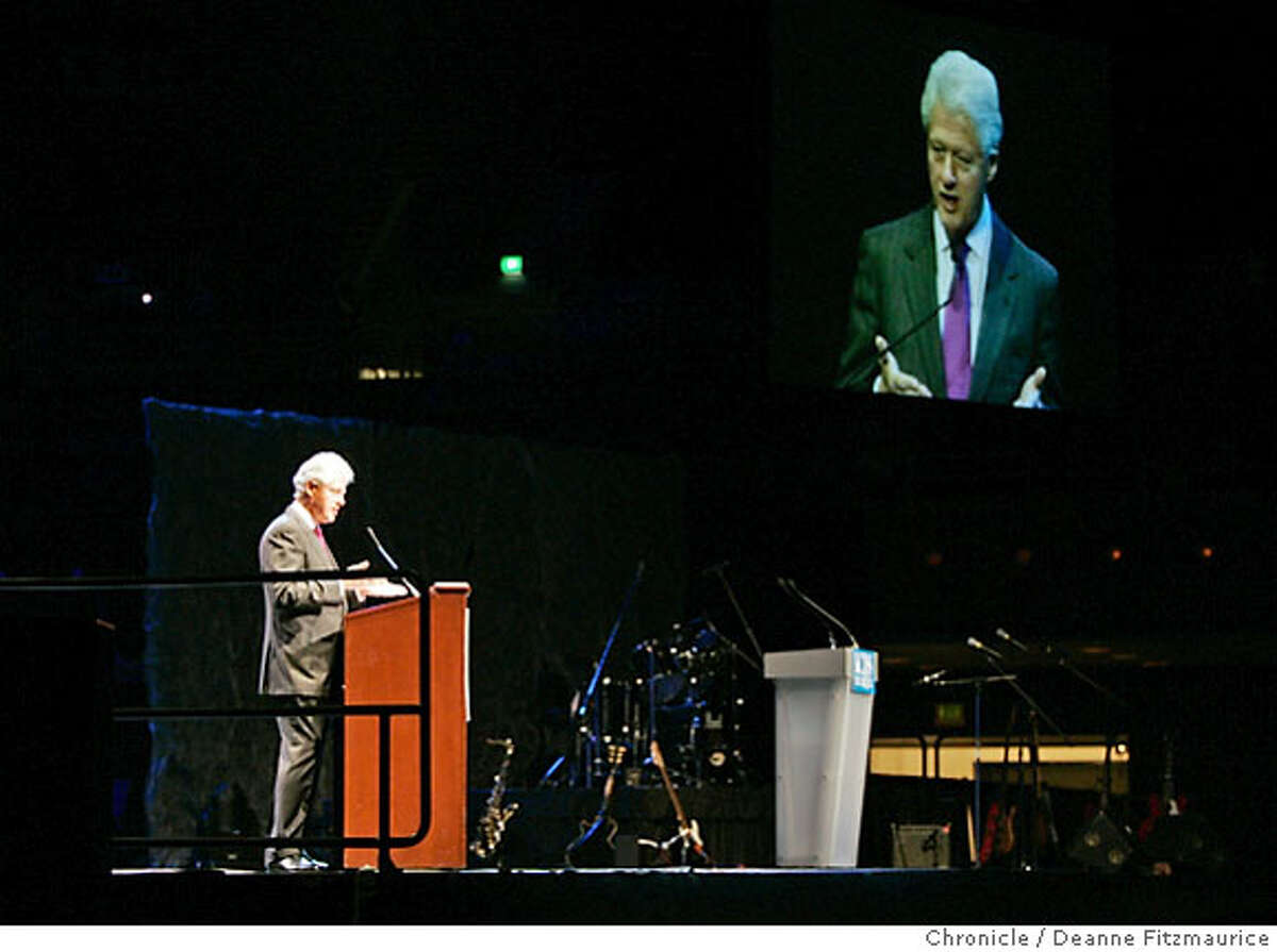 Former President Bill Clinton spoke about health care and the war at KCBS' 3rd Annual Health Fair at Bill Graham Civic Auditorium in San Francisco on 4/14/07. Deanne Fitzmaurice / The Chronicle