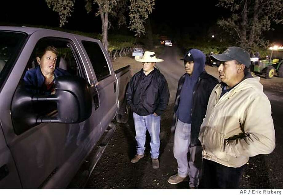 Sonoma County vineyard owner Saralee Kunde, left, gives instructions to her crew foremen on where to begin picking Pinot Noir grapes during night harvest at the Saralee Vineyard in Windsor, Calif., Sept. 24, 2005. It's not your typical harvest scene, but picking after dark is becoming increasingly popular with vintners who say the cooler temperatures are easier on grapes and workers. (AP Photo/Eric Risberg) Ran on: 10-13-2005  At top, Russian River Valley vineyard owner Saralee Kunde gives her picking crew instructions for a night harvest of Pinot Noir. Below, rabbis Yaron Buki (left) and David Miller oversee the wine harvest at kosher Hagafen Cellars in Napa. Photo: ERIC RISBERG