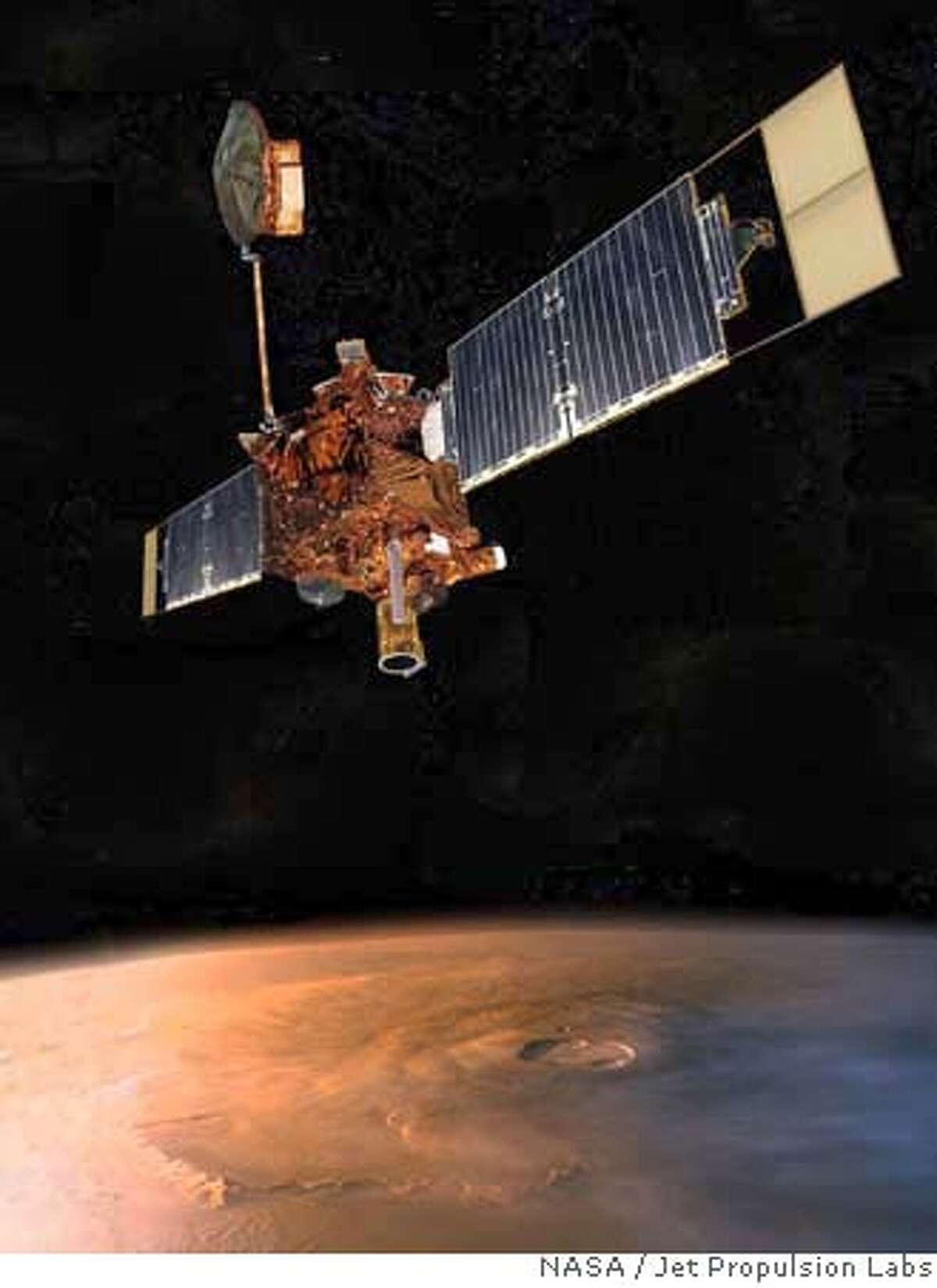 This artist rendering released by NASA's Jet Propulsion Laboratory, shows the Mars Global Surveyor in orbit around Mars. According to a preliminary report released Friday, April 13, 2007, human error triggered a cascade of events that caused the battery to fail on the Mars Global Surveyor last year. An internal NASA board determined that power loss likely doomed the spacecraft after a decade of meticulously mapping the Red Planet. (AP Photo/NASA, Jet Propulsion Labs) ARTIST RENDERING HANDOUT RELEASED BY NASA