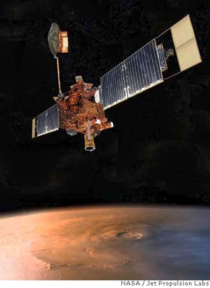 This artist rendering released by NASA's Jet Propulsion Laboratory, shows the Mars Global Surveyor in orbit around Mars. According to a preliminary report released Friday, April 13, 2007, human error triggered a cascade of events that caused the battery to fail on the Mars Global Surveyor last year. An internal NASA board determined that power loss likely doomed the spacecraft after a decade of meticulously mapping the Red Planet. (AP Photo/NASA, Jet Propulsion Labs) ARTIST RENDERING HANDOUT RELEASED BY NASA Photo: Jet Propulsion Laboratory