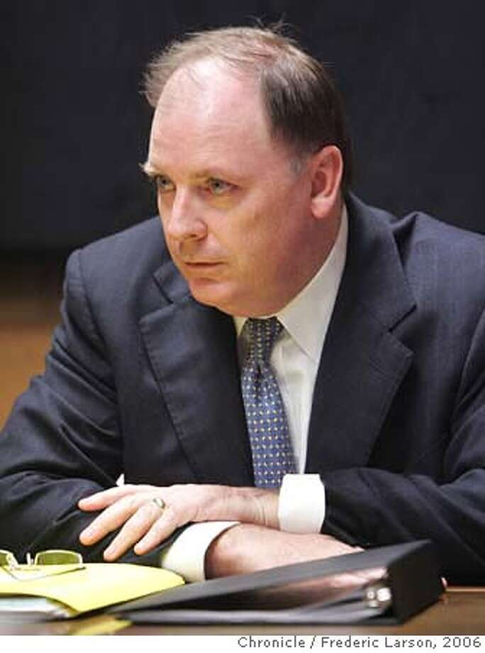 Kevin Ryan, U.S. Attorney for the Northern District of California talks about the stock-options backdating scandal. 12/14/06  {Photographed by Frederic Larson} Ran on: 12-24-2006 ALSO Ran on: 01-19-2007, 03-21-2007  U.S. Attorney Kevin Ryan is leaving his post voluntarily, his spokesman says. MANDATORY CREDIT FOR PHOTOGRAPHER AND SAN FRANCISCO CHRONICLE/NO SALES-MAGS OUT Photo: Frederic Larson