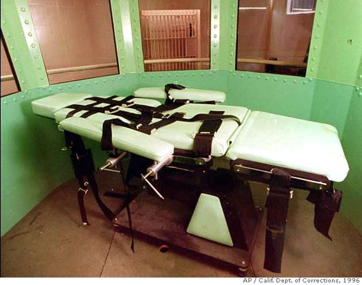 ** ADVANCE FOR MONDAY, FEB. 27 -FILE ** This California Department of Corrections photograph, taken in January 1996, shows the lethal Injection table in the execution chamber at California's San Quentin Prison. Had Michael Morales been executed as planned this week, his death would have taken place in this dimly lit room deep inside the fortress of San Quentin _ a far cry from the crowds that once gathered to see frontier justice administered at the end of the hangman's rope. (AP Photo/Calif. Dept. of Corrections, File)