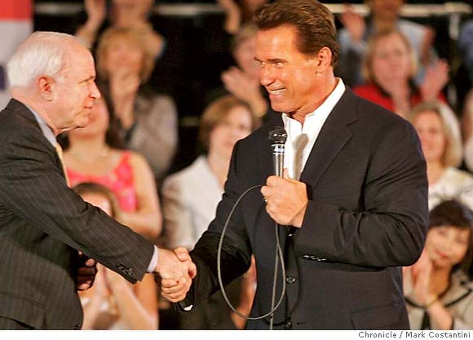 governor_113_mc.jpg  Gov. Arnold Schwarzenegger will be in Oakland with Arizona Sen. John McCain(R), Arizona at a town hall meeting. Photograph by Mark Costantini/S.F. Chronicle. MANDATORY CREDIT FOR PHOTOG AND SF CHRONICLE/ -MAGS OUT Photo: Mark Costantini